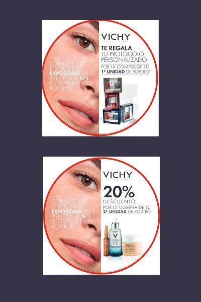 VICHY: Protocolo gratis personalizado con tu 1ª unidad de rostro y 20% de descuento en tu segunda unidad