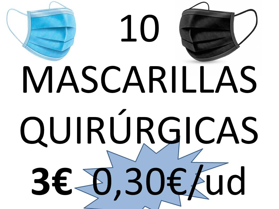 MASCARILLAS QUIRÚRGICAS IIR AZULES O NEGRAS