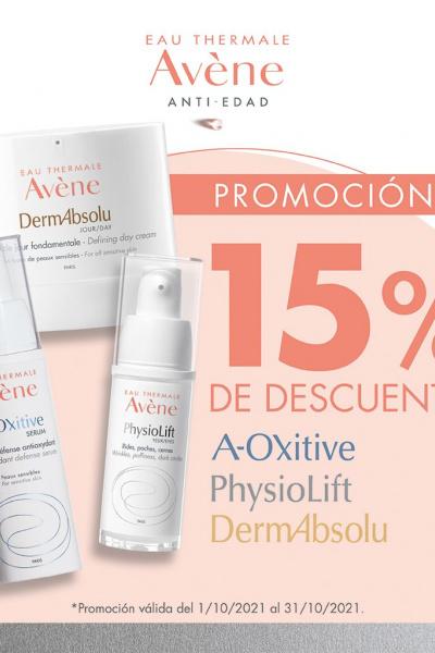 15% Descuento Avene Antiedad Oxitive, Physiofit, Dermoabsolut