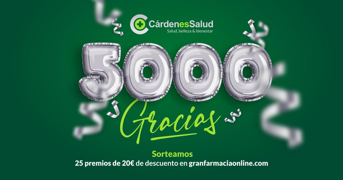 ¡5000 gracias! Sorteamos 25 premios de 20€ de descuentopara canjear en nuestra tienda online