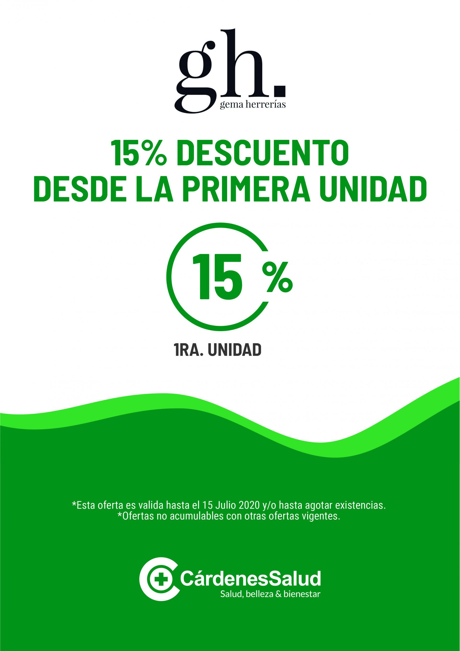 GH: 15% DE DESCUENTO HASTA EL 15 DE JULIO