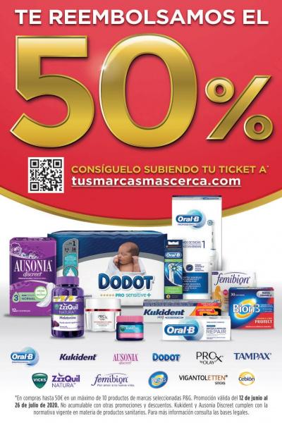 Reemborsament del 50% dels productes P&G*