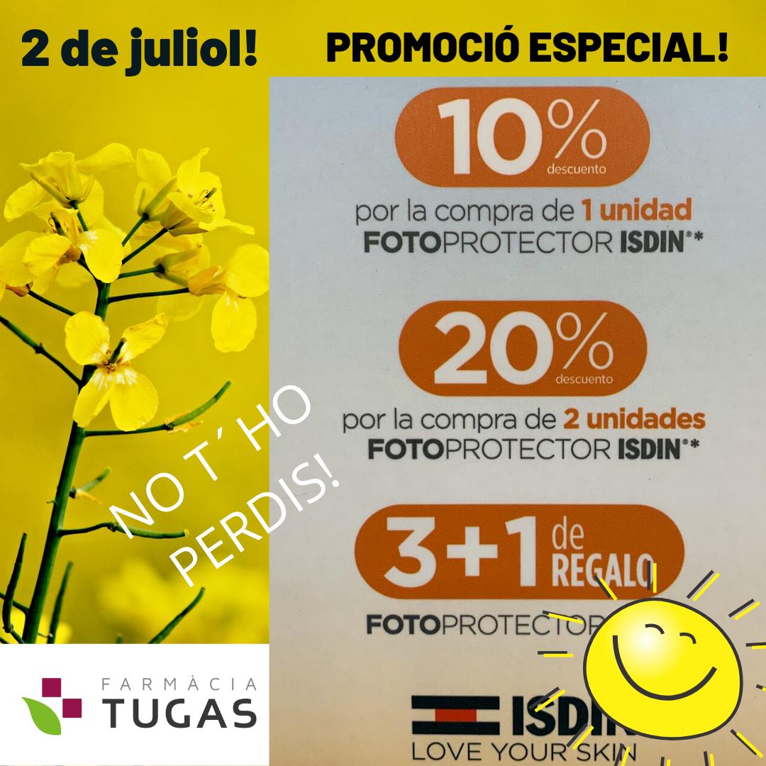 PROMOCIÓ ESPECIAL ISDIN 2 DE JULIOL